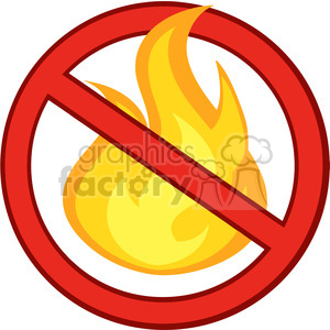 Royalty Free RF Clipart Illustration Stop Fire Sign With Burning Flame clipart. Royalty-free image # 395711