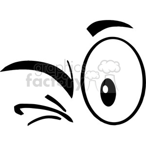 Royalty Free RF Clipart Illustration Black And White Winking Cartoon Eyes clipart. Royalty-free image # 395721