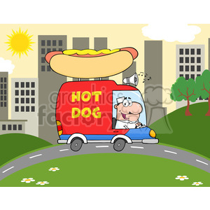 Royalty Free RF Clipart Illustration Happy Hot Dog Vendor Driving Truck In The Town clipart. Royalty-free image # 395751