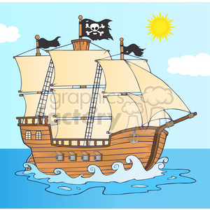 7204 Royalty Free RF Clipart Illustration Pirate Ship Sailing Under Jolly Roger Flag clipart. Royalty-free image # 395761