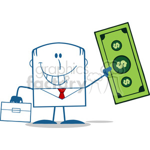 Royalty Free RF Clipart Illustration Lucky Businessman With Briefcase Holding A Dollar Bill Monochrome Cartoon Character clipart. Royalty-free image # 395781