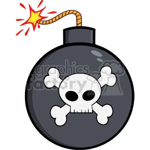 Royalty Free RF Clipart Illustration Cartoon Bomb With Skull And Crossbones clipart. Royalty-free image # 395791