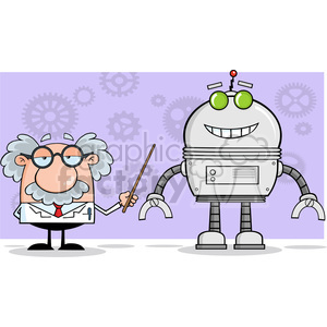 Funny Scientist Or Professor Shows His Pointer A Big Robot clipart. Commercial use image # 395811