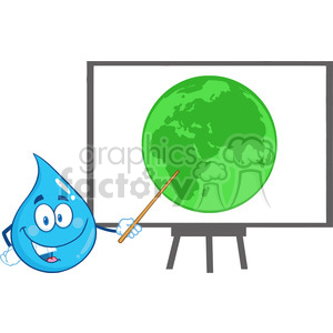 Water Drop Character Holding A Pointer Presenting On A Board Green Earth