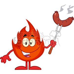Royalty Free RF Clipart Illustration Happy Fire Cartoon Mascot Character With Sausage On Fork Cook clipart. Royalty-free image # 395851