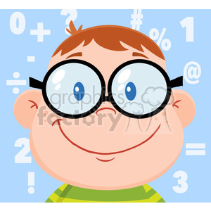Smiling Geek Boy Head clipart. Commercial use image # 395861