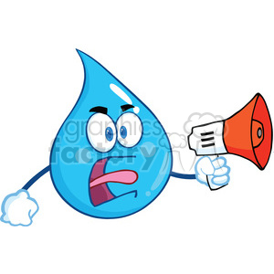 Royalty Free RF Clipart Illustration Angry Water Drop Character Screaming Into Megaphone clipart. Royalty-free image # 395941