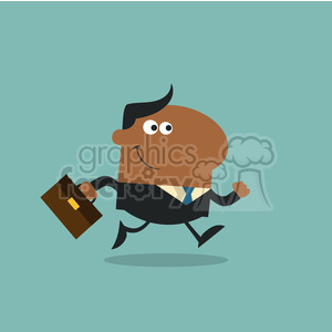 8270 Royalty Free RF Clipart Illustration Smiling African American Manager With Briefcase Running To Work Modern Flat Design Vector Illustration clipart. Commercial use image # 395981