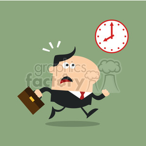 8272 Royalty Free RF Clipart Illustration Hurried Manager Running Past A Clock Modern Flat Design Vector Illustration clipart. Royalty-free image # 395991