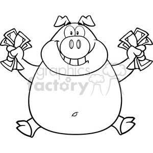 Royalty Free RF Clipart Illustration Black And White Smiling Rich Pig Jumping With Cash clipart. Royalty-free image # 396023
