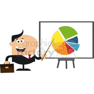 8351 Royalty Free RF Clipart Illustration Happy Manager Pointing Progressive Pie Chart On A Board Flat Style Vector Illustration clipart. Royalty-free image # 396033