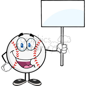 Happy Baseball Ball Holding A Blank Sign clipart. Commercial use image # 396062
