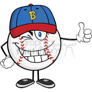 Winking Baseball Ball Cartoon Mascot Character Holding A Thumb Up clipart. Royalty-free image # 396072