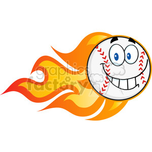 Smiling Flaming Baseball Ball Cartoon Character clipart. Royalty-free image # 396082