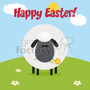 8232 Royalty Free RF Clipart Illustration Cute Black Head Sheep With Flower On A Hill Modern Flat Design Vector Illustration With Text clipart. Commercial use image # 396092