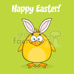 8600 Royalty Free RF Clipart Illustration Happy Easter With Smiling Yellow Chick Cartoon Character With Bunny Ears Vector Illustration clipart. Royalty-free image # 396102