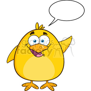 8587 Royalty Free RF Clipart Illustration Happy Yellow Chick Cartoon Character Waving With Speech Bubble Vector Illustration Isolated On White clipart. Royalty-free image # 396112