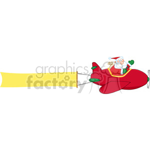 8205 Royalty Free RF Clipart Illustration Santa Claus Flying With Christmas Plane And A Blank Banner Attached clipart. Commercial use image # 396122