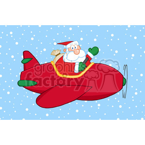 8202 Royalty Free RF Clipart Illustration Santa Claus Flying His Christmas Plane In The Snow And Waving clipart. Royalty-free image # 396132
