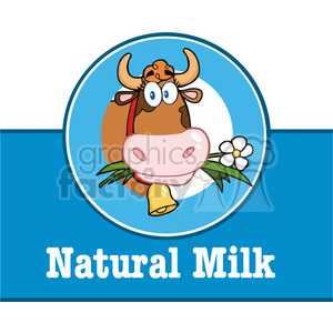 Royalty Free RF Clipart Illustration Cartoon Label With Cow And Text
