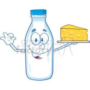 Royalty Free RF Clipart Illustration Funny Milk Bottle Character Holding Up A Wedge Of Yellow Cheese clipart. Commercial use image # 396152