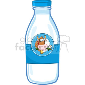 Royalty Free RF Clipart Illustration Milk Bottle With Cartoon Cow Head Label