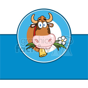 Royalty Free RF Clipart Illustration Cartoon Label With Cow