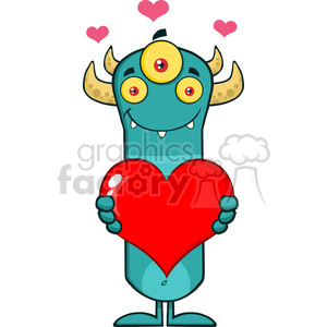 8925 Royalty Free RF Clipart Illustration Smiling Horned Blue Monster Cartoon Character Holding A Valentine Love Heart Vector Illustration Isolated On White clipart. Royalty-free image # 396182