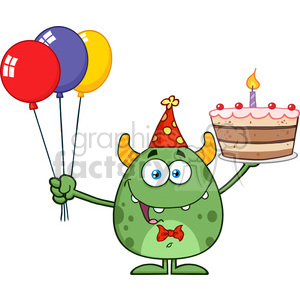 8916 Royalty Free RF Clipart Illustration Funny Green Monster Holding Up A Birthday Cake Vector Illustration Isolated On White