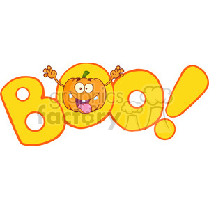 Royalty Free RF Clipart Illustration Boo Text With Scaring Halloween Pumpkin Cartoon Mascot Character clipart. Royalty-free image # 396202