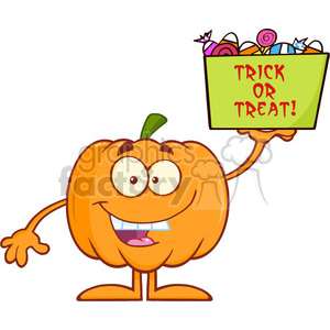 Royalty Free RF Clipart Illustration Smiling Halloween Pumpkin Mascot Character Holds A Box With Candys And Text