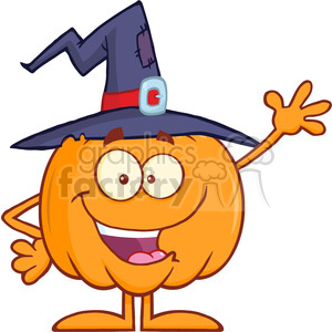 8889 Royalty Free RF Clipart Illustration Happy Witch Pumpkin Cartoon Character Waving Vector Illustration Isolated On White