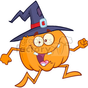 8897 Royalty Free RF Clipart Illustration Crazy Witch Pumpkin Cartoon Character Running Vector Illustration Isolated On White clipart. Commercial use image # 396262