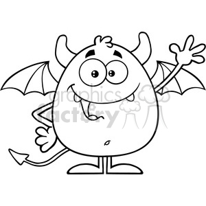 8957 Royalty Free RF Clipart Illustration Black And White Happy Devil Cartoon Character Waving Vector Illustration Isolated On White