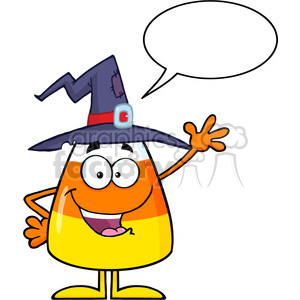 8886 Royalty Free RF Clipart Illustration Happy Candy Corn Cartoon Character With A Witch Hat Waving Vector Illustration Isolated On White With Speech Bubble