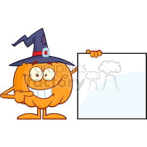 Royalty Free RF Clipart Illustration Smiling Halloween Pumpkin With A Witch Hat Mascot Character Showing A Blank Sign