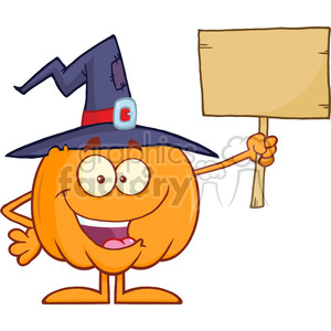 8895 Royalty Free RF Clipart Illustration Happy Witch Pumpkin Cartoon Character Holding Up A Blank Wood Sign Vector Illustration Isolated On White