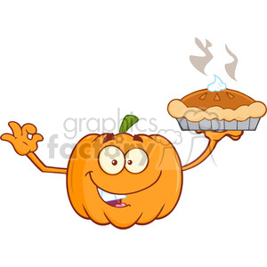 Royalty Free RF Clipart Illustration Smiling Pumpkin Cartoon Mascot Character Holding Perfect Pie