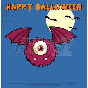 8912 Royalty Free RF Clipart Illustration Smiling Furry One Eyed Monster Cartoon Character Flying With Text Vector Illustration Greeting Card