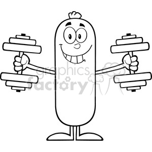 8429 Royalty Free RF Clipart Illustration Black And White Sausage Cartoon Character Training With Dumbbells Vector Illustration Isolated On White clipart. Royalty-free image # 396332