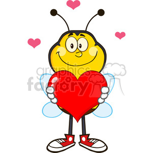 8380 Royalty Free RF Clipart Illustration Smiling Bee Cartoon Mascot Character Holding Up A Red Heart Vector Illustration Isolated On White clipart. Commercial use image # 396376