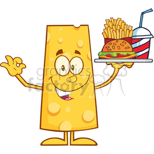 8510 Royalty Free RF Clipart Illustration Cheese Cartoon Character Holding A Platter With Burger, French Fries And A Soda Vector Illustration Isolated On White clipart. Royalty-free image # 396388