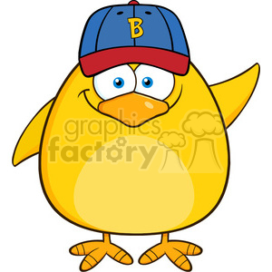 8613 Royalty Free RF Clipart Illustration Smiling Yellow Chick Cartoon Character With Baseball Hat Waving Vector Illustration Isolated On White