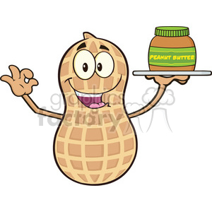 8736 Royalty Free RF Clipart Illustration Peanut Cartoon Mascot Character Holding A Jar Of Peanut Butter Vector Illustration Isolated On White clipart. Royalty-free image # 396412