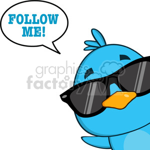 8832 Royalty Free RF Clipart Illustration Cute Blue Bird With Sunglasses Cartoon Character Looking From A Corner With Speech Bubble And Text Vector Illustration Isolated On White clipart. Royalty-free image # 396426