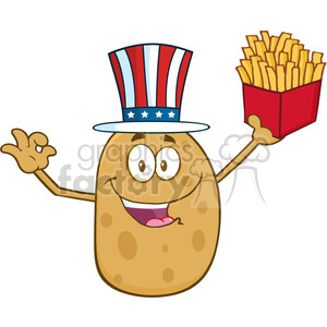 8793 Royalty Free RF Clipart Illustration American Potato Character Gesturing Ok And Holding A French Fries Vector Illustration Isolated On White