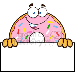 8669 Royalty Free RF Clipart Illustration Donut Cartoon Character With Sprinkles Over A Sign Vector Illustration Isolated On White clipart. Commercial use image # 396472