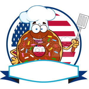 8693 Royalty Free RF Clipart Illustration Chocolate Chef Donut Cartoon Character With Sprinkles Over A Circle Blank Label In Front Of Flag Of USA Vector Illustration Isolated On White clipart. Royalty-free image # 396494
