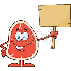 8411 royalty free rf clipart illustration steak cartoon mascot character holding a blank wooden sign vector illustration isolated on white