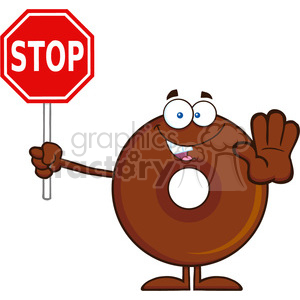 8708 Royalty Free RF Clipart Illustration Smiling Chocolate Donut Cartoon Character Holding A Stop Sign Vector Illustration Isolated On White clipart. Commercial use image # 396536